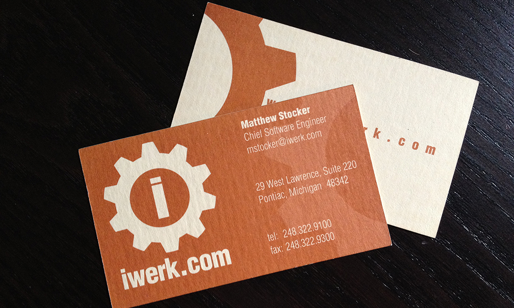 Iwerk business card steelfish design plymouth michigan steelfish design did the branding development for iwerk a leading software development company in royal oak the project included logo business cards reheart Image collections