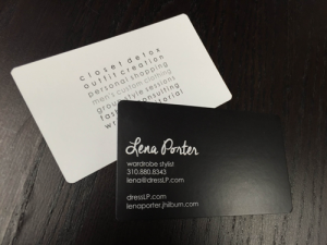 Lena porter business card steelfish design plymouth michigan branding business card and logo design for lena porter premium business card printed 1 color double sided on a heavy 16pt card stock with rounded edges reheart Images